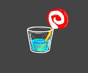 A lollipop in a glass of water