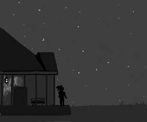 Man next to a porch star gazing