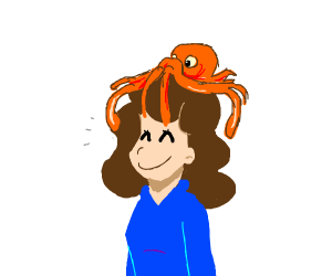 a happy brunette with a squid on her head