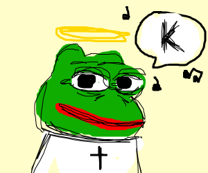 Pepe the angel with a halo singing 'K'