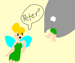 Tinkerbell watches as a fish eats Peter Pan
