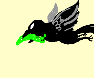 Crow flys off with stolen Shrek caterpillar