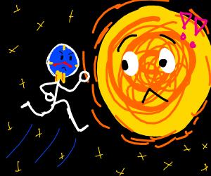 A clock jumping toward the sun