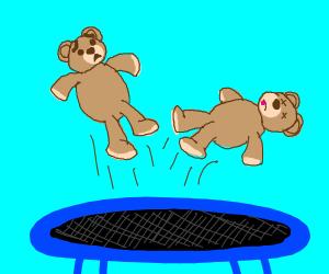 2 teddybears try trampoline, but one died