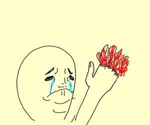 sad man loses his fingers