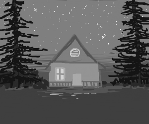 Small cabin in the night