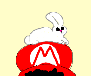 Rabbit hugs Mario
