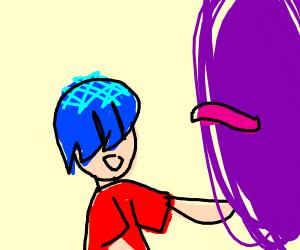 Guy with strange hair opening purple wormhole
