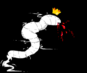 King ghost worm choghing up blood