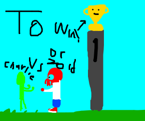 Green and red guy fighting over yellow thing