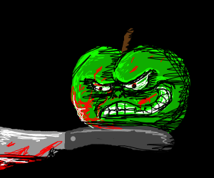 murder apple with bloody knife and head on gr