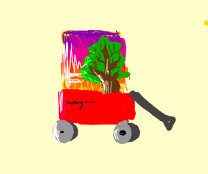 amber encased trees in a wagon