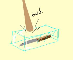 Knife in unbreakable glass