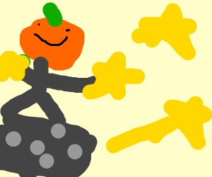 Halloween man in space collecting stars