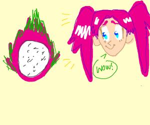 An anime adores a dragonfruit.
