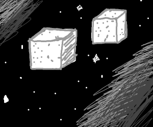 Sugar cubes in space