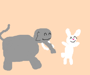 Cute elephant and bunny are BFF