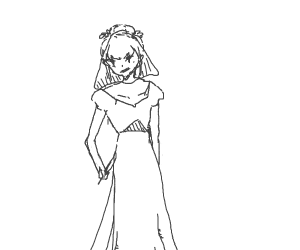 evil girl in a wedding dress