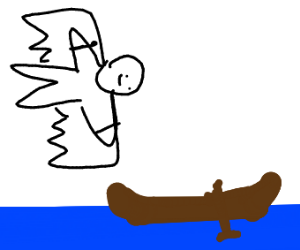 Man flying towards small boat