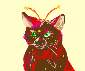 red cat with yellow dots &an yellow antenna