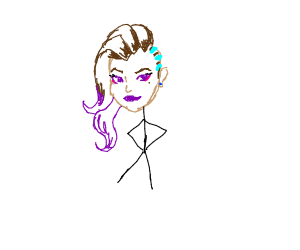 Sombra from Overwatch with a stickman body
