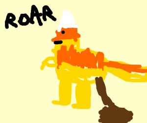 Candy corn dinosaur