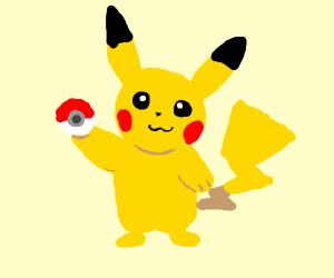Pikachu with a pokeball