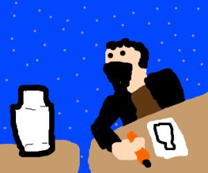 Person Sketching A Bottle