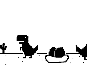 two dinosaurs with two eggs
