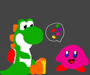 yoshi and kirby talk about jellybeans weirdly