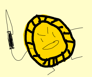 Angry coin with knife