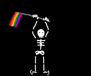 skeleton holding a rainbow flag