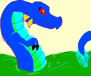 Dragon in green lake