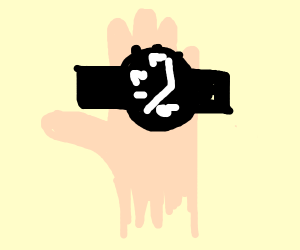Wearing a watch on your palm.