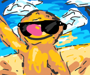 Yellmo wearing sunglasses at the beach