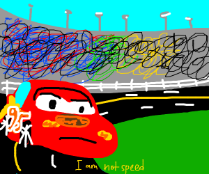 Lightning McQueen is not happy