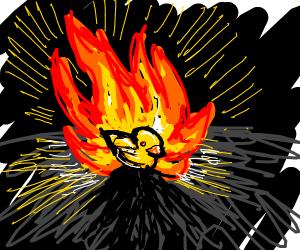 Rubber duck is on fire