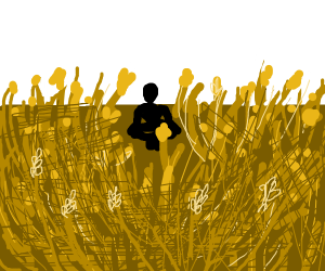 Man meditates in a field of wheat