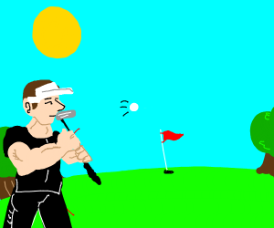 muscle man plays golf