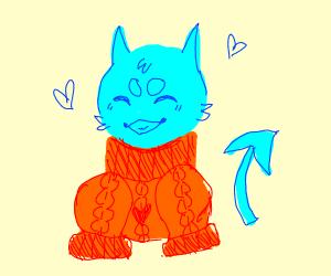 happy blue blob wearting an orange sweater :)