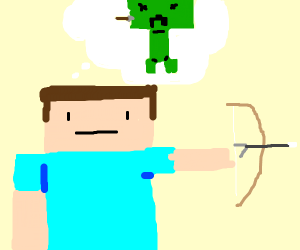 Minecraft steve using a bow
