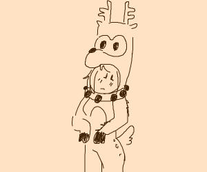 girl dressed as reindeer