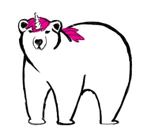 polar bear roleplays as unicorn