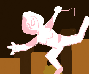 Spider-Gwen swinging through the air
