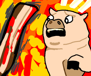 Pig is scared of bacon