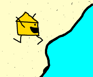 A block of cheese havin a great day at the be