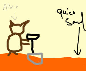 Chipmunk digging into Quicksand