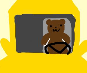bear driving a school bus