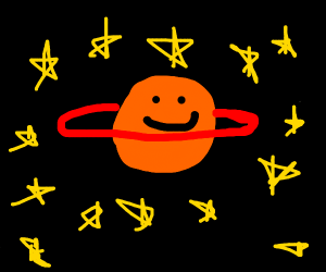 happy orange Saturn, with red ring, drawing