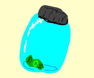 Dollar bill in a jar